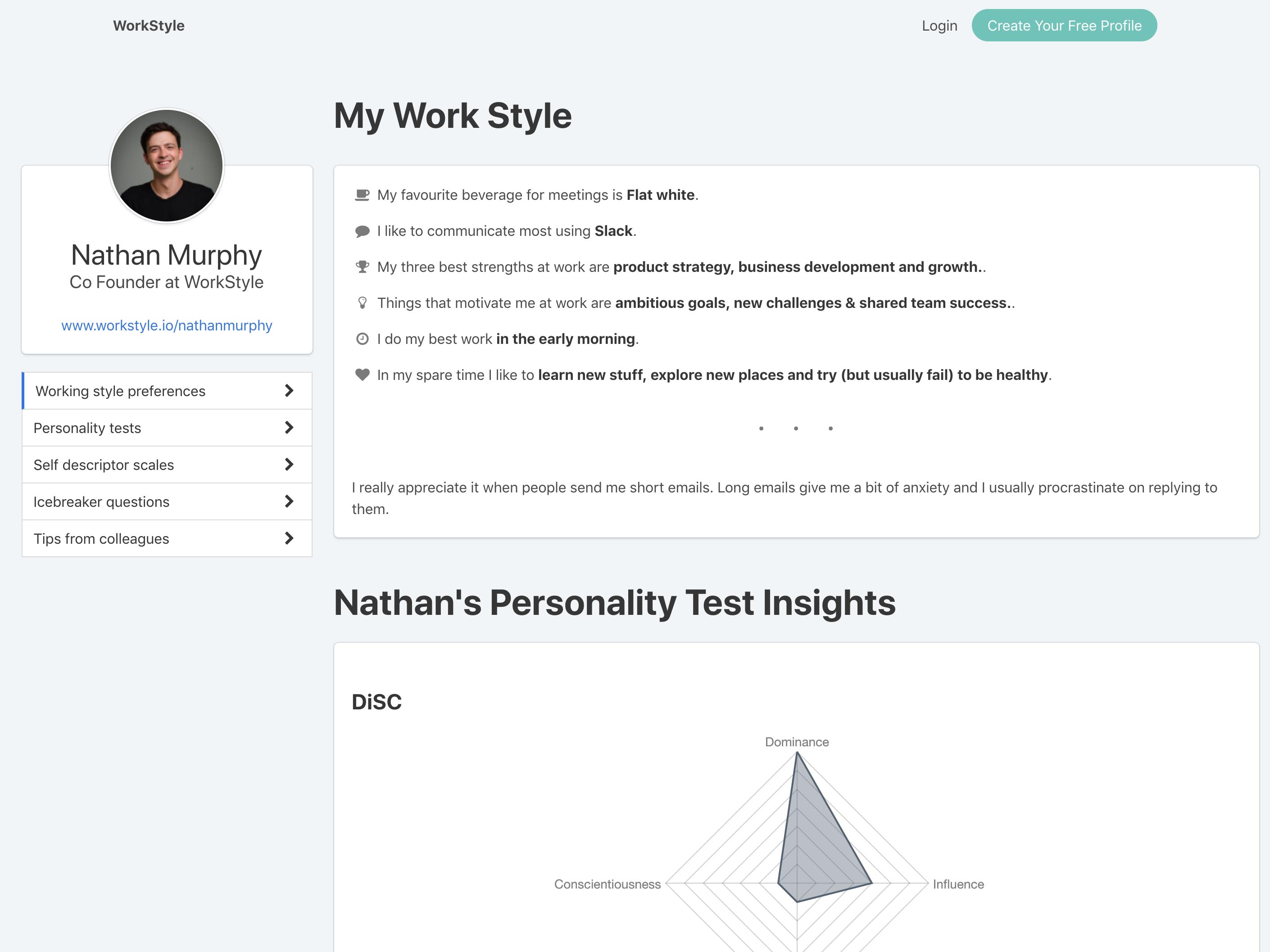 WorkStyle profile